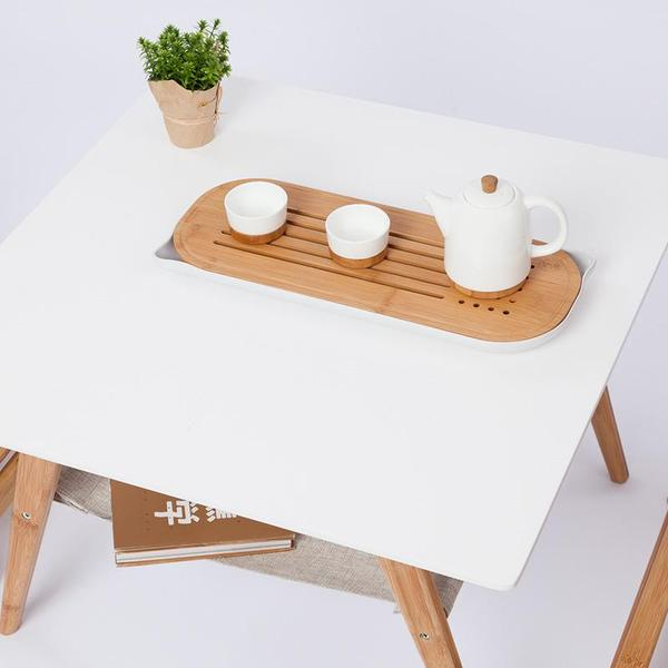 Square Coffee Table Bamboo Tea Table White Double Layer Table